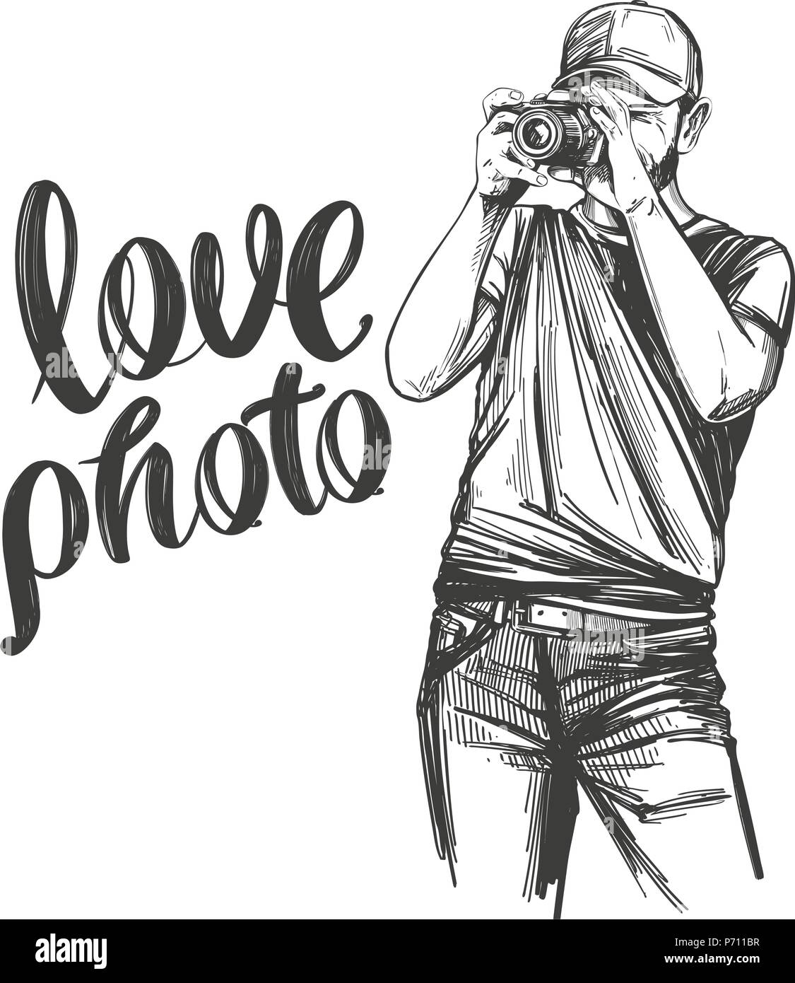 Photographer love photo calligraphy text hand drawn vector illustration realistic sketch