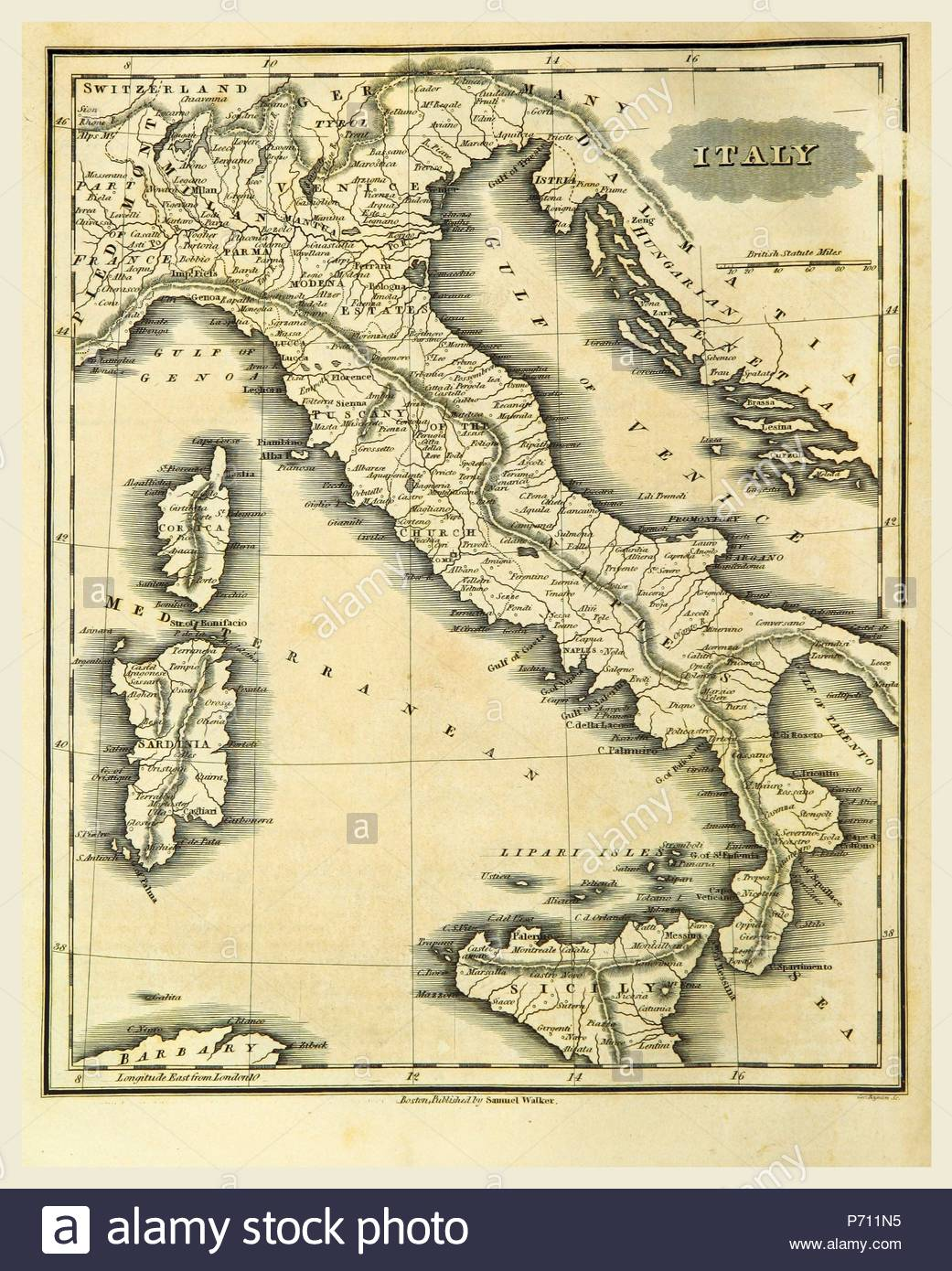 Map of Italy, 19th century engraving. - Stock Image