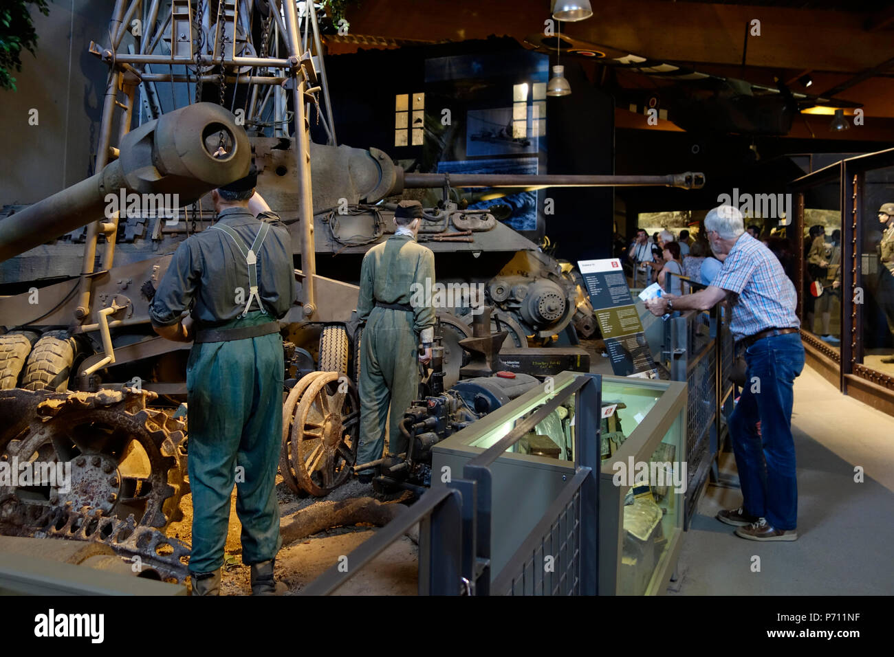 Visitors Looking At Wwii Diorama At The Overlord Museum Near Omaha Beach About Ww2 Allied Landing During D Day Colleville Sur Mer Normandy France Stock Photo Alamy