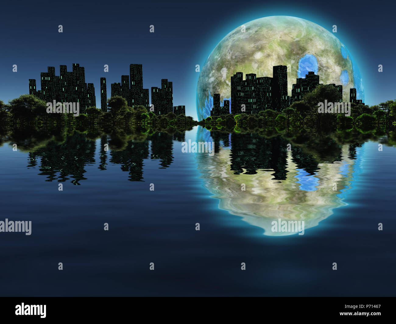 Surreal digital art. Future city with green trees on a water surface. Giant terraformed moon in the sky. - Stock Image