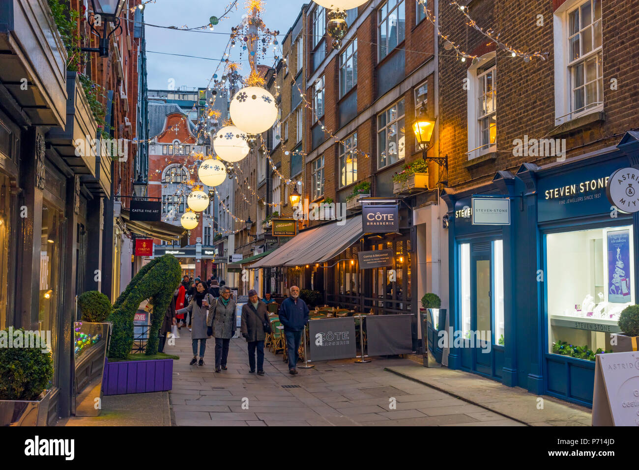 Christmas decorations, St. Christopher's Place, off Oxford Street, The West End, London, England, United Kingdom, Europe - Stock Image