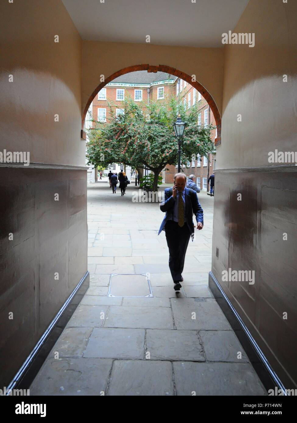 Corridor between Middle Temple Lane and Pump Court, London UK. - Stock Image