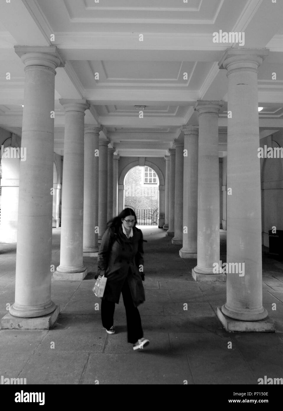 Woman in Pump Court, London UK. - Stock Image