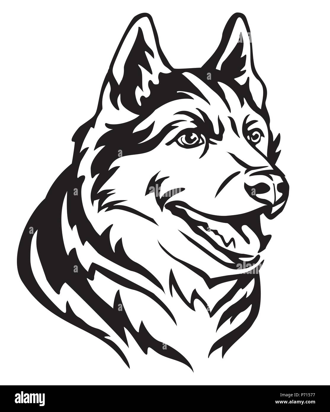 Decorative portrait in profile of Dog Siberian Husky, vector isolated illustration in black color on white background. Image for design and tattoo. - Stock Vector