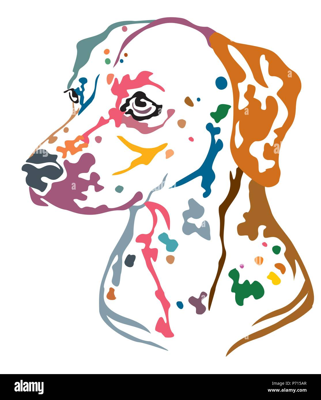 Colorful decorative portrait in profile of Dog Dalmatian, vector illustration in different colors isolated on white background. Image for design and t - Stock Vector