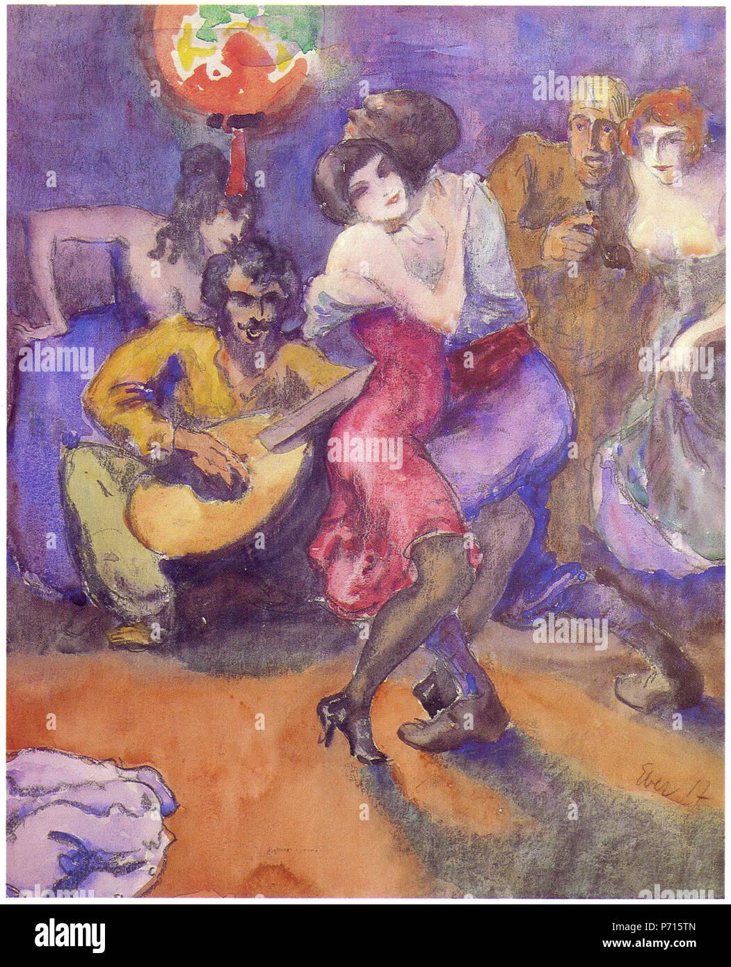 Deutsch: Elk EberTanzabend, 1917. Aquarell . 1917 9 Elk Eber - Tanzabend, 1917 - Stock Image