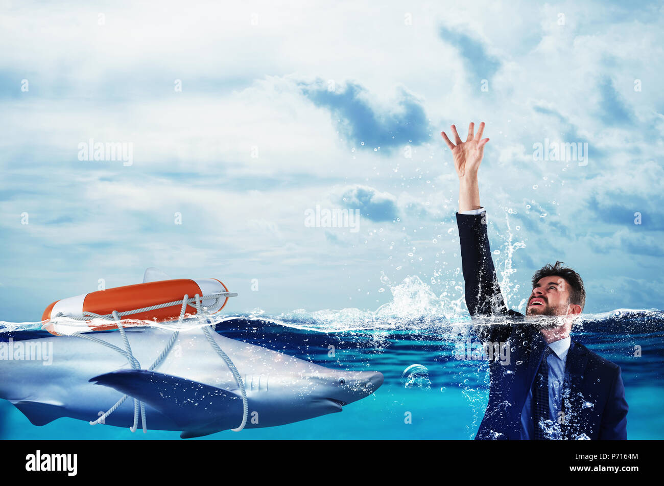 Businessman is likely to drown. Help with deception concept - Stock Image