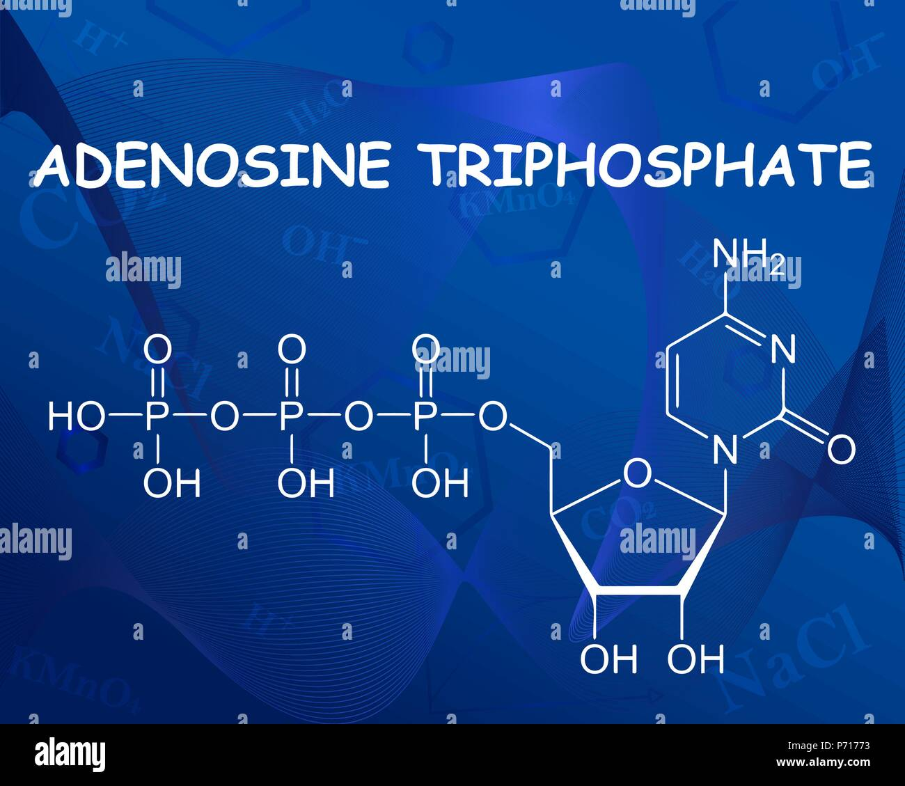 Adenosine triphosphate chemical formula. Vector illustration. Formula beautiful blue background. - Stock Vector