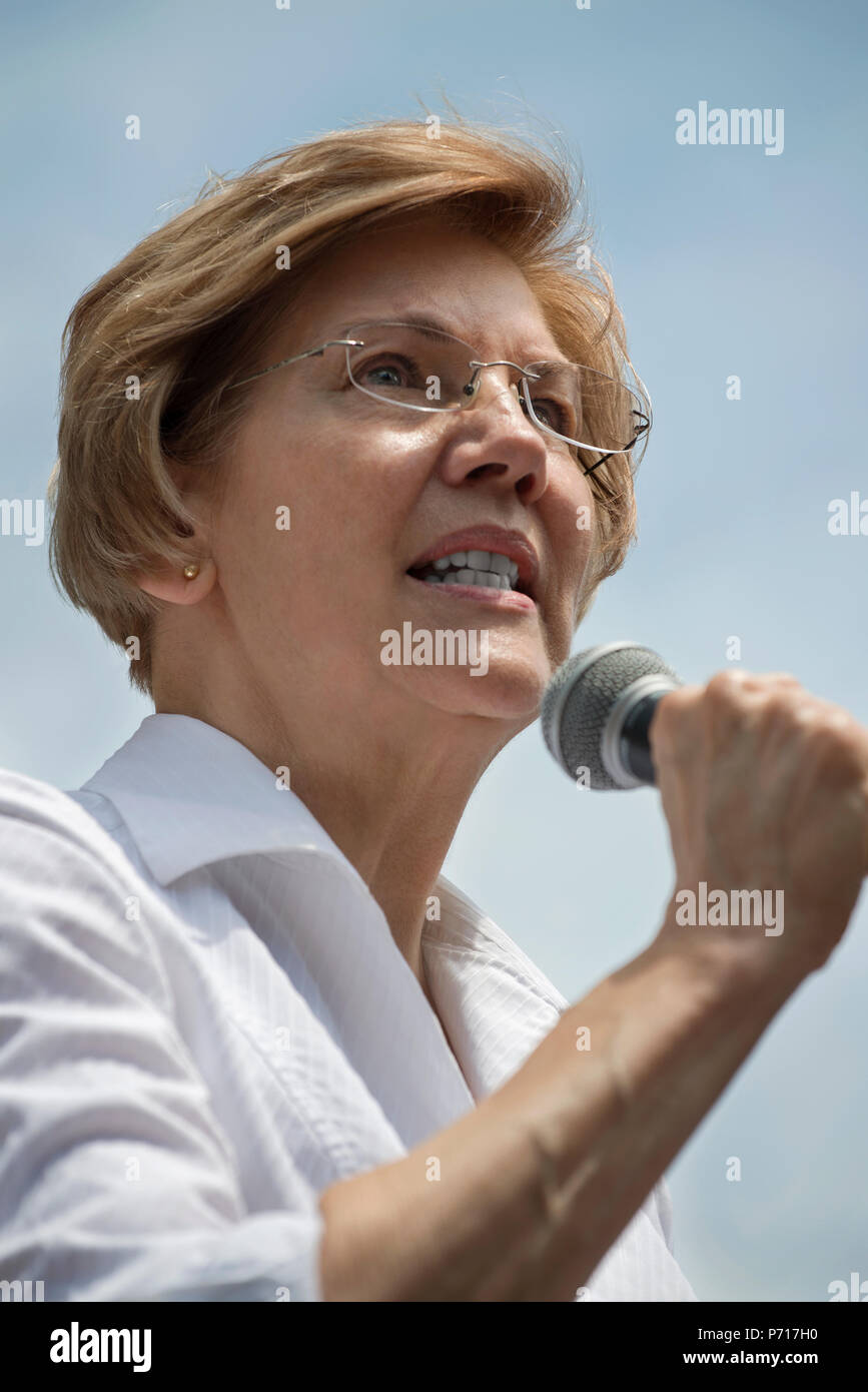 U.S. Senator Elizabeth Warren (Democrat Massachusetts) speaks to thousands from the back of a truck at Boston City Hall during the Rally against Family Separation in Boston, MA. Large rallies against U.S. President Trump's policy of separating immigrant families took place in more than 750 U.S. cities on June 30th of 2018. - Stock Image