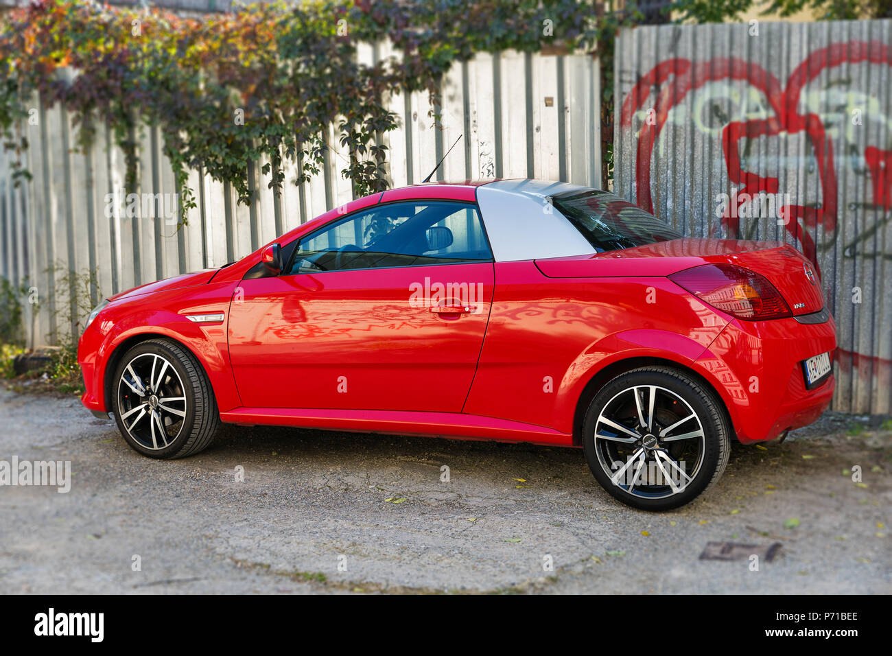 Kosice Slovakia October 02 2017 Red Luxury Coupe Opel Tigra Twintop Parked It Is A Two Seater Coupe Convertible With A Retractable Hardtop Opel Stock Photo Alamy