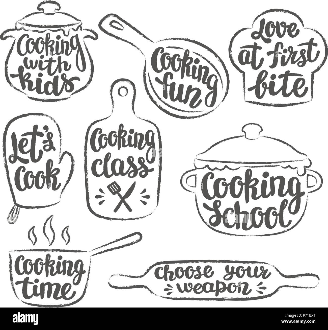 Collection Of Grunge Contoured Cooking Label Or Logo. Hand