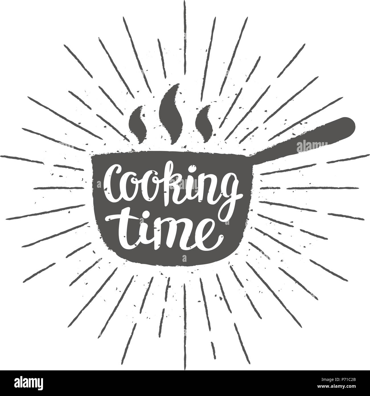 Pot silhoutte with lettering - Cooking time - and vintage sun rays. Good for cooking logotypes, bades or posters. - Stock Image
