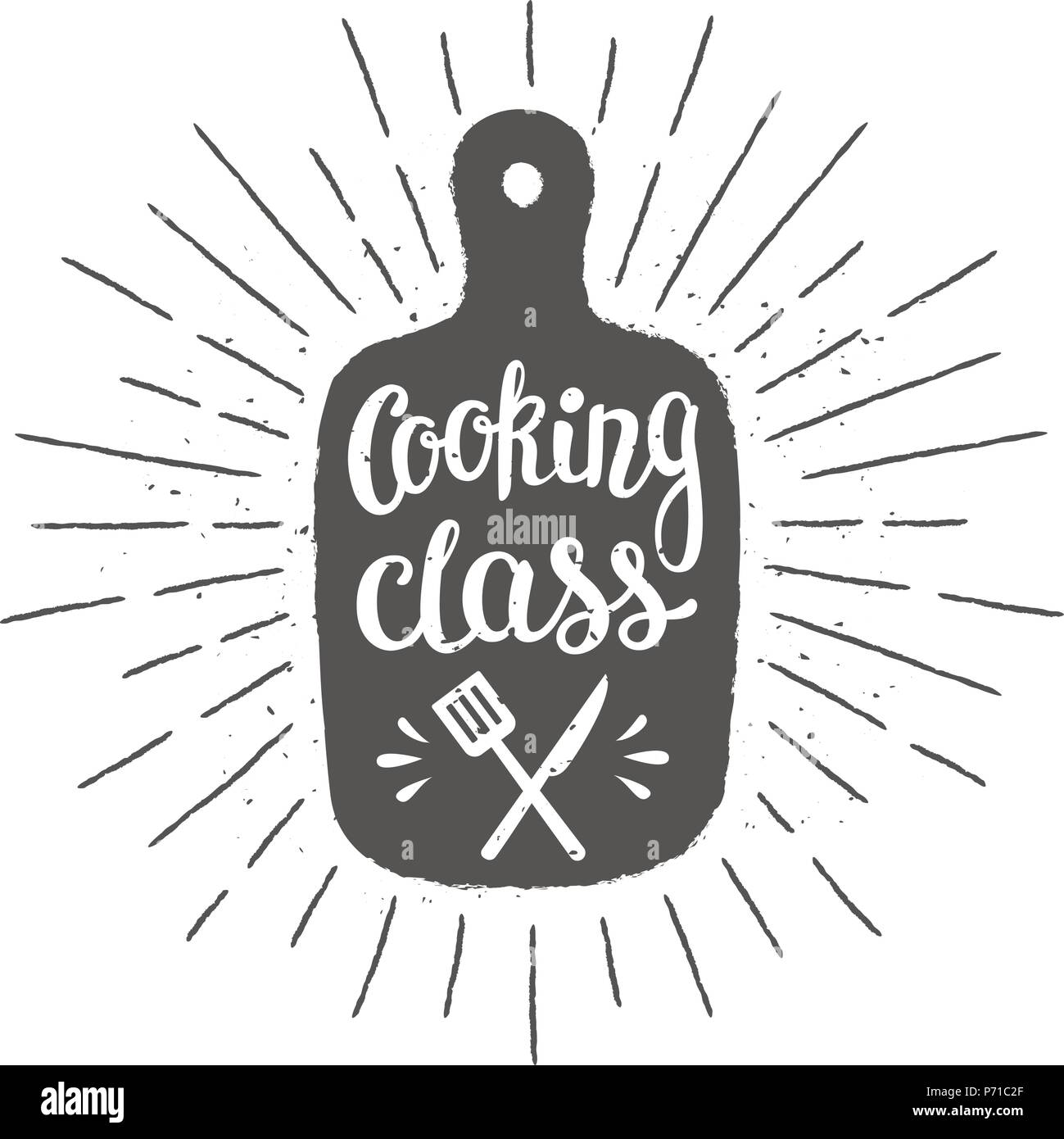 Cutting board silhoutte with lettering - Cooking class - and vintage sun rays. Good for cooking logotypes, bades or posters. - Stock Image