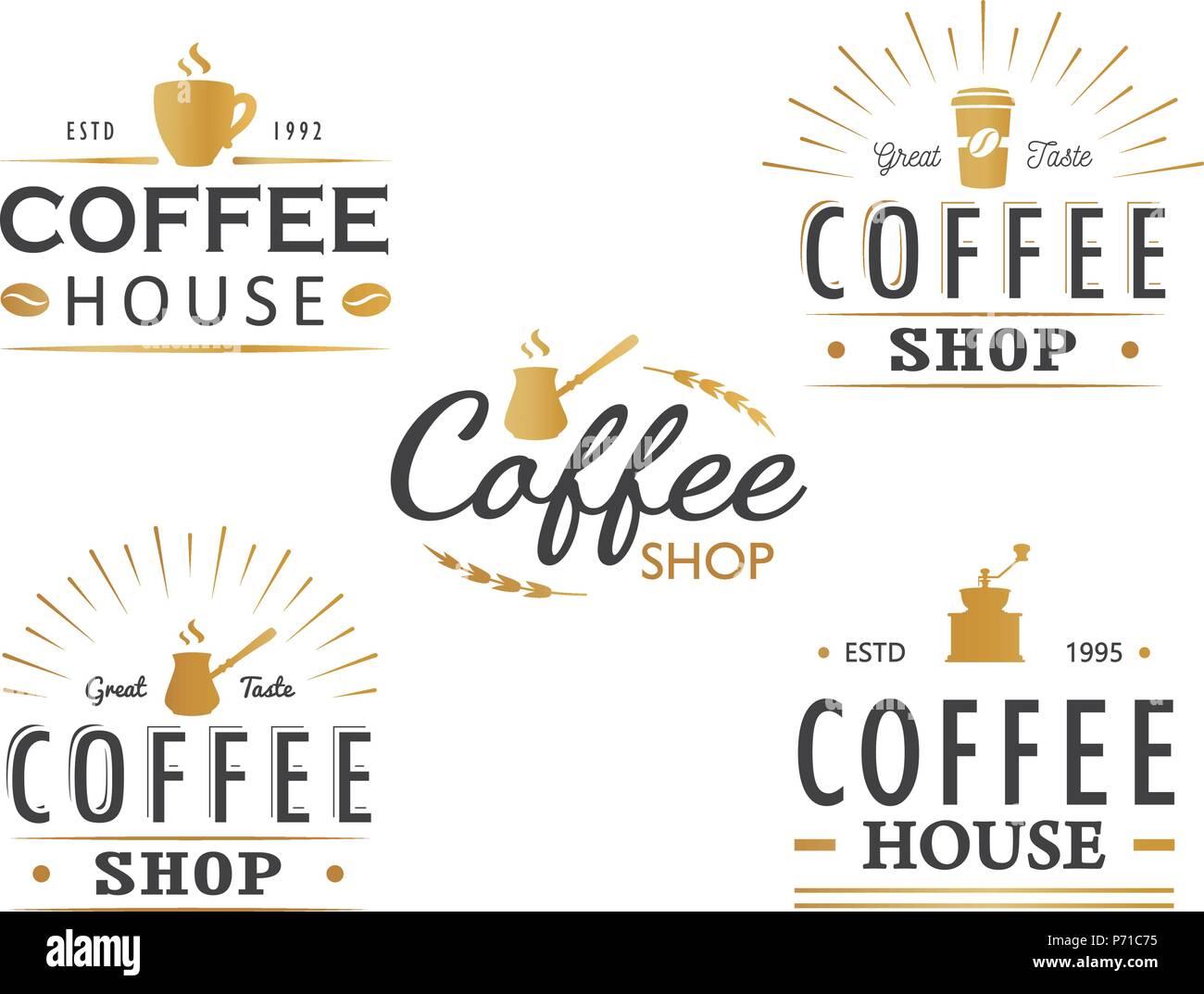 Set of vintage Coffee logo templates, badges and design