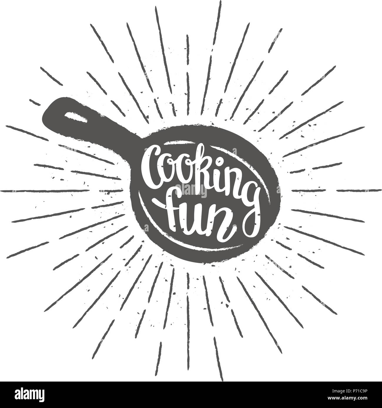 Pan silhoutte with lettering - Cooking fun - and vintage sun rays. Good for cooking logotypes, bades or posters. - Stock Image