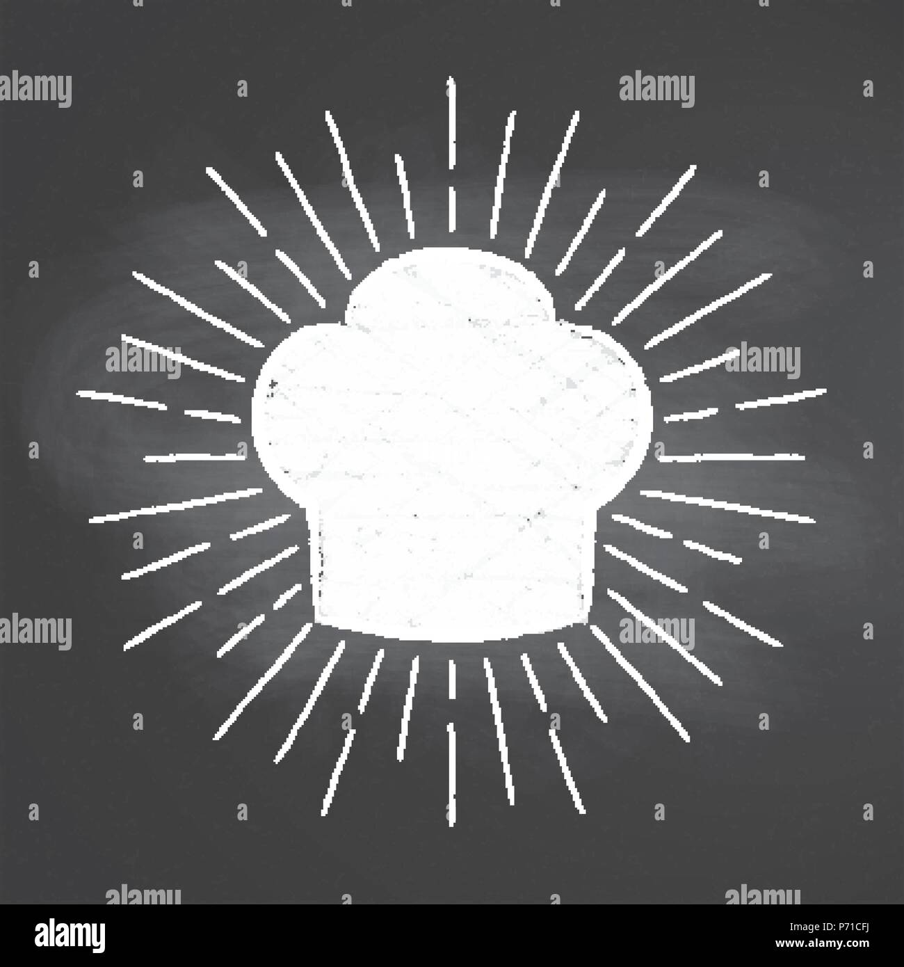 Chef's toque chalk silhoutte with  sun rays on blackboard. Good for cooking logotypes, bades or posters. - Stock Image