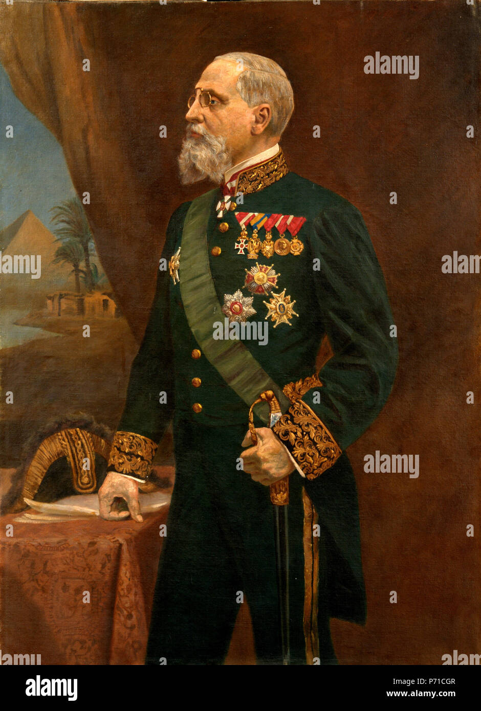 English: Coloured copy of the painting by the Moravian painter Karel Žádník (1847-1929), made in Bilowitz in 1912 of Count Hugo II Logothetti. The painting was till May 1945 at the family manor in Bilowitz and is now in possession of the Slovacké Muzeum, Uherské Hradiště.   Nikon D300 + AF-S Micro Nikkor 60mm f/2.8G ED   .  1912  Picture (2011) of the original painting 3 Hugo II Logothetti - Stock Image
