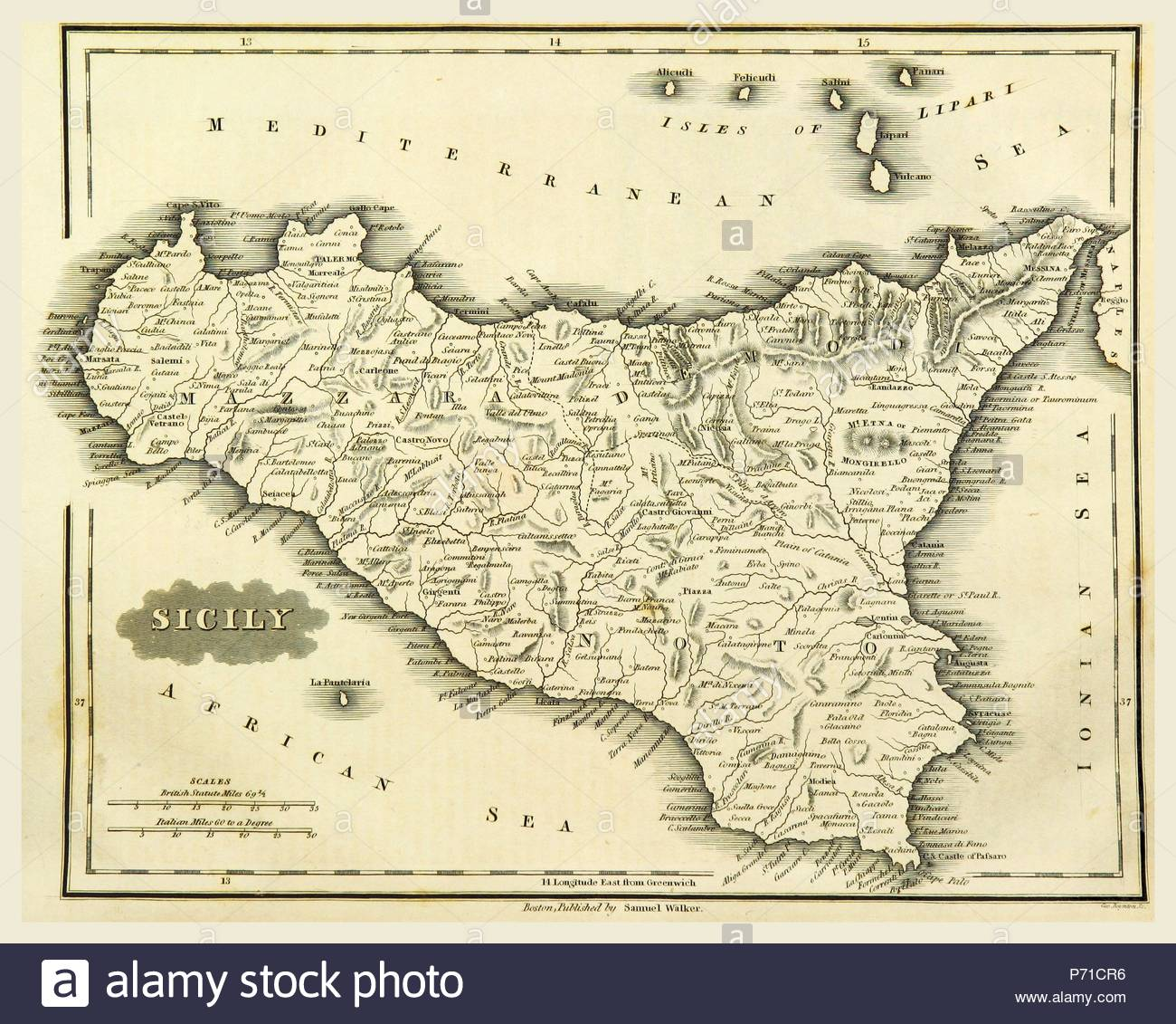 Map Sicily, Italy, 19th century engraving. - Stock Image