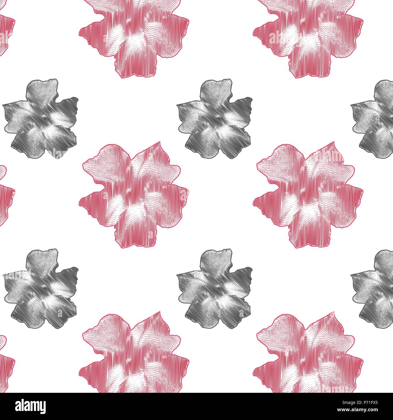 Delicate Pink Flowers On White Background Valentines Day Fantasy