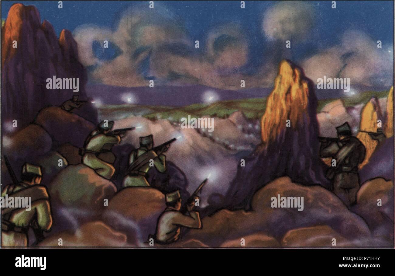 Epopeyas de la guerra civil española (1936-1939). Batalla en la Sierra de Guadarrama (Madrid). Cromo editado por Almacenes Alemanes en Octubre de 1937. Stock Photo