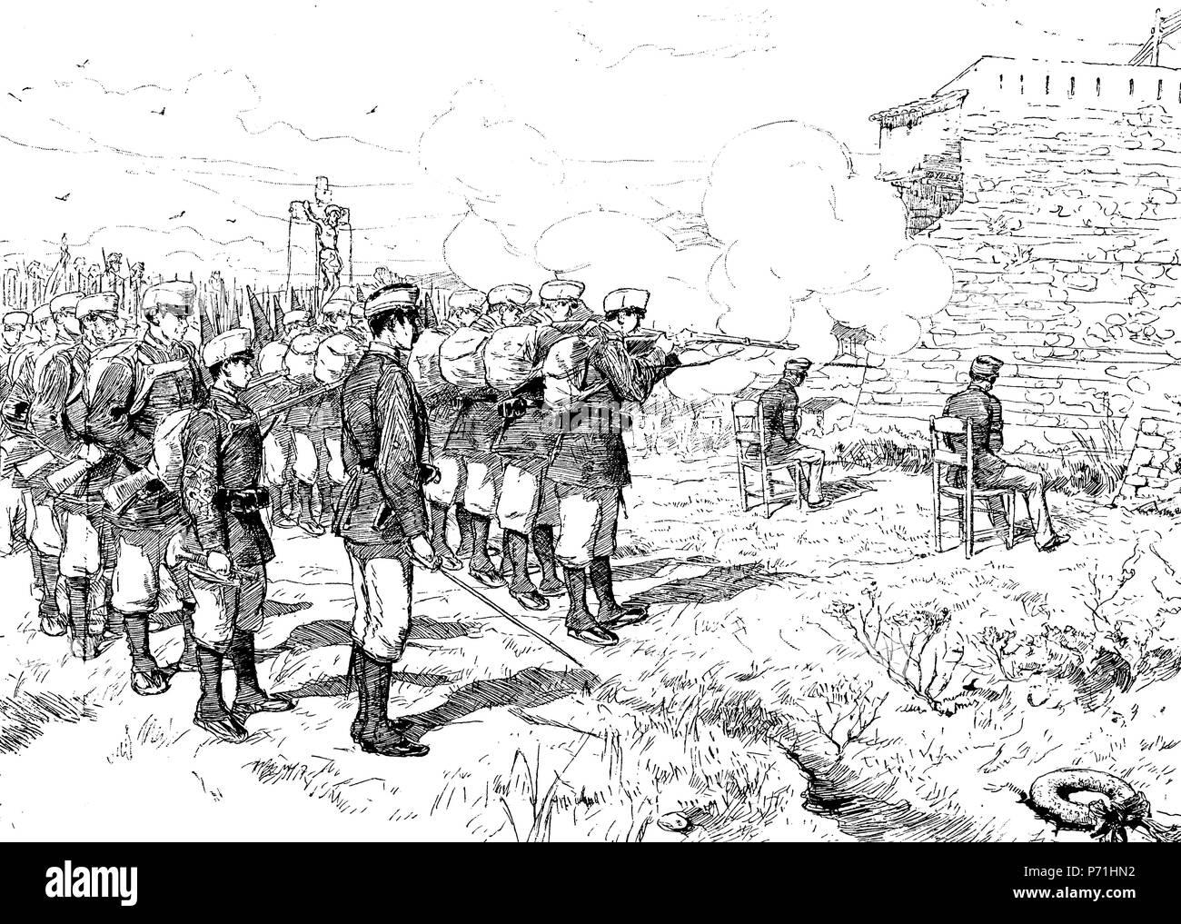 Girona. Fusilamiento del comandante Ferrández y del teniente Belles. Grabado de 1884. Stock Photo