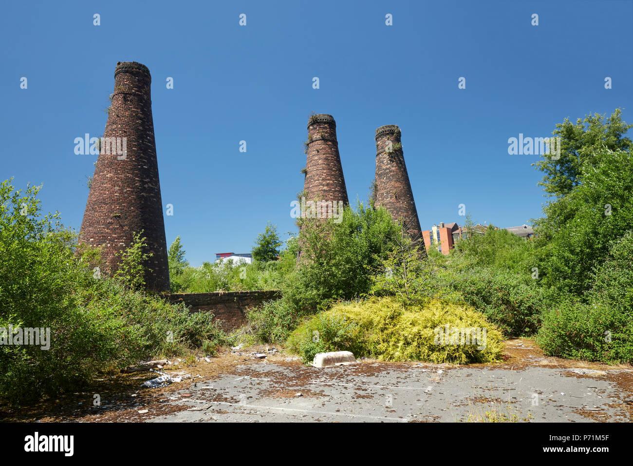 Three Bottle Kilns at Acme Marls Bournes Bank Burslem Stoke-on-Trent Staffordshire England  UK - Stock Image