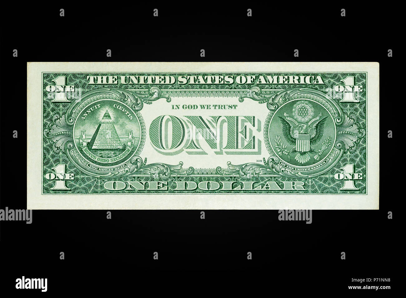 US One Dollar Note Reverse - Stock Image