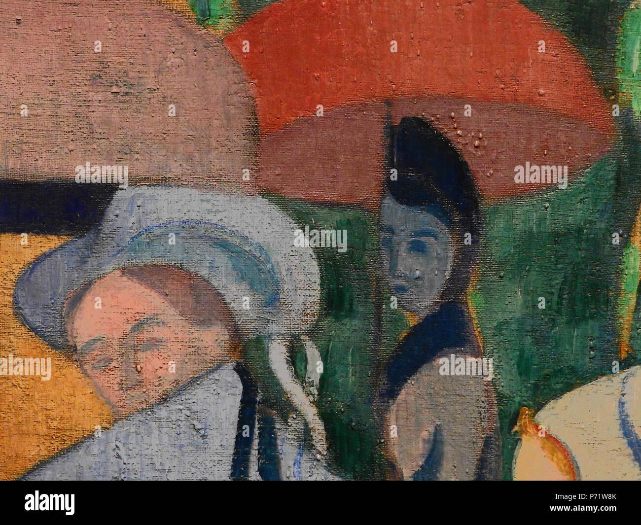 Français: - Detail 14 - Jeune femme dans l'ombre et femme au chapeau breton - Young woman in the shaddow and woman with a breton hat - Orsay - . 1892 5 BERNARD Emile,1892 - Les Bretonnes aux Ombrelles - Detail 14 - Stock Image