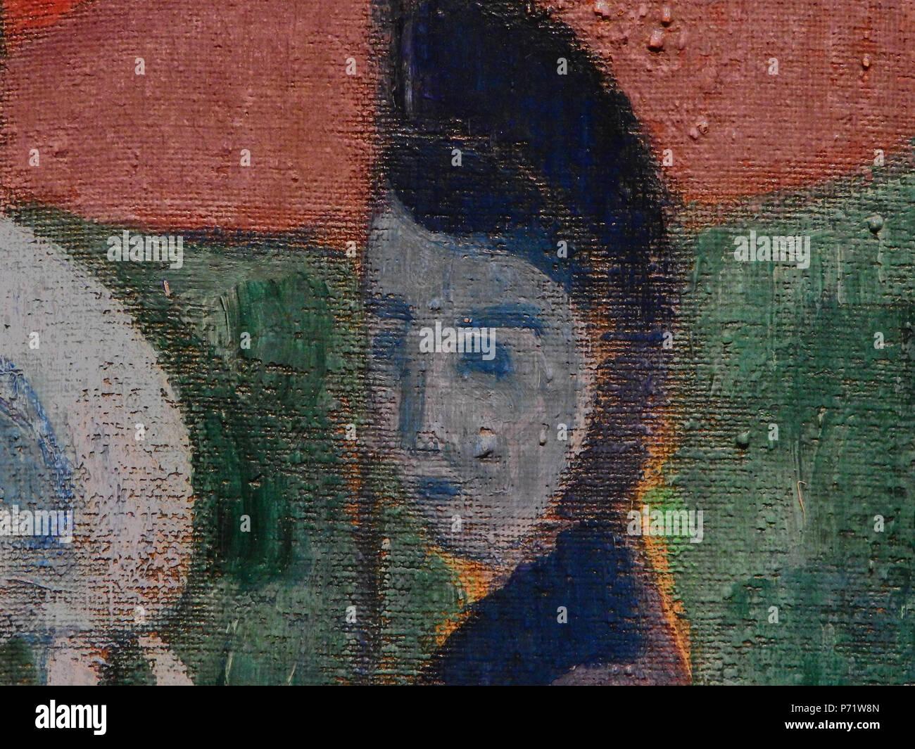 Français: - Detail 23 - Tête de Jeune femme dans l'ombre - Young woman's head in the shaddow - Orsay - . 1892 5 BERNARD Emile,1892 - Les Bretonnes aux Ombrelles - Detail 23 Stock Photo