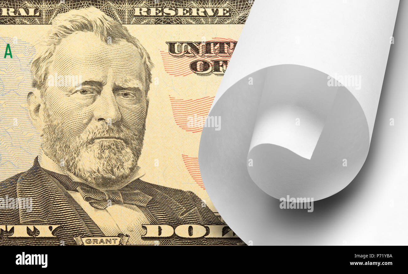 Fifty Dollar Bill with White Scroll of Paper. - Stock Image
