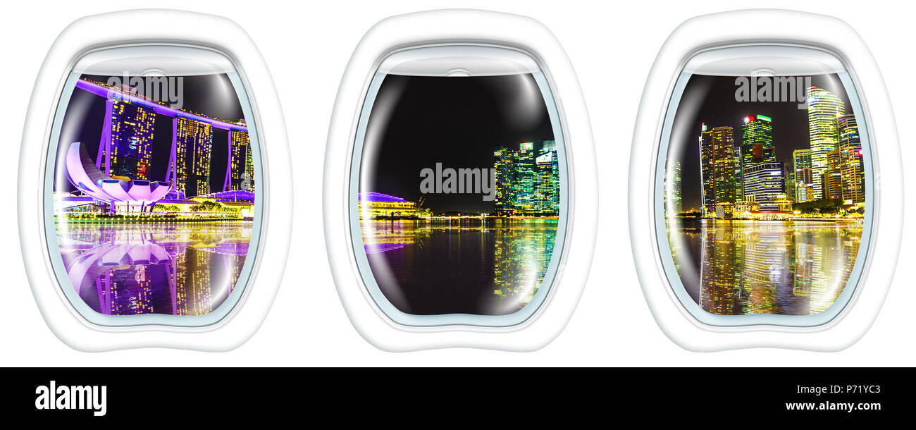 Three porthole frame windows on Panorama of Singapore buildings and skyscrapers of downtown reflected in the sea. Singapore skyline by night. Night scene waterfront marina bay with copy space. - Stock Image