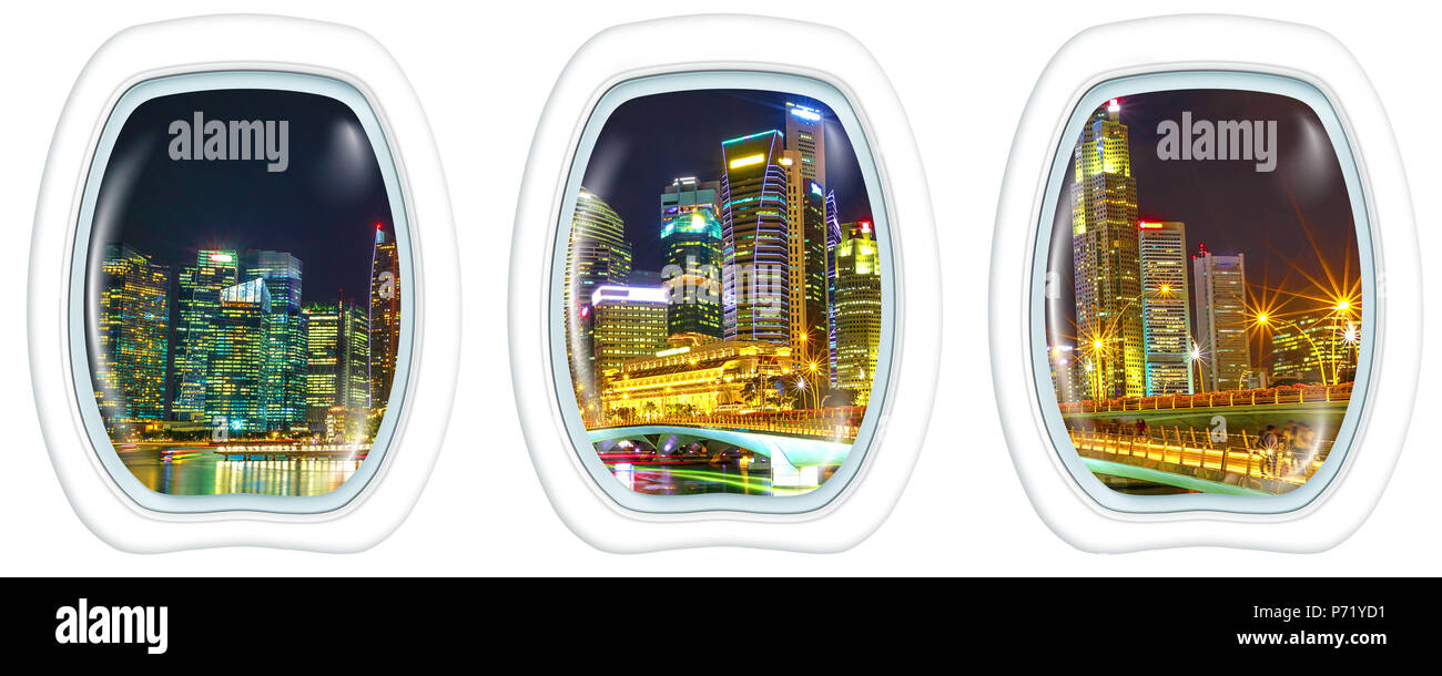 Porthole windows on Singapore downtown skyline with skyscrapers of Business District and bridge in marina bay promenade. Scenic flight above Singapore with the lights of night reflects in the bay. - Stock Image