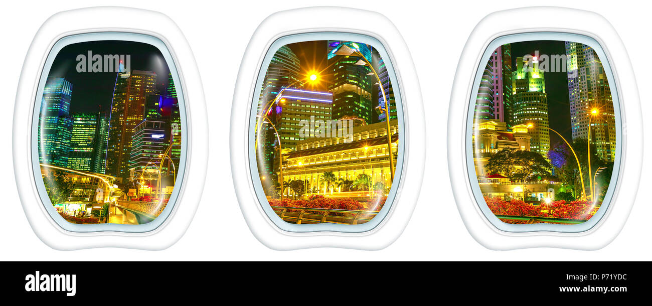 Porthole windows interior on Singapore financial buildings and skyscrapers of downtown reflected in the harbor. Scenic flight on Singapore skyline by night in marina bay promenade waterfront. - Stock Image
