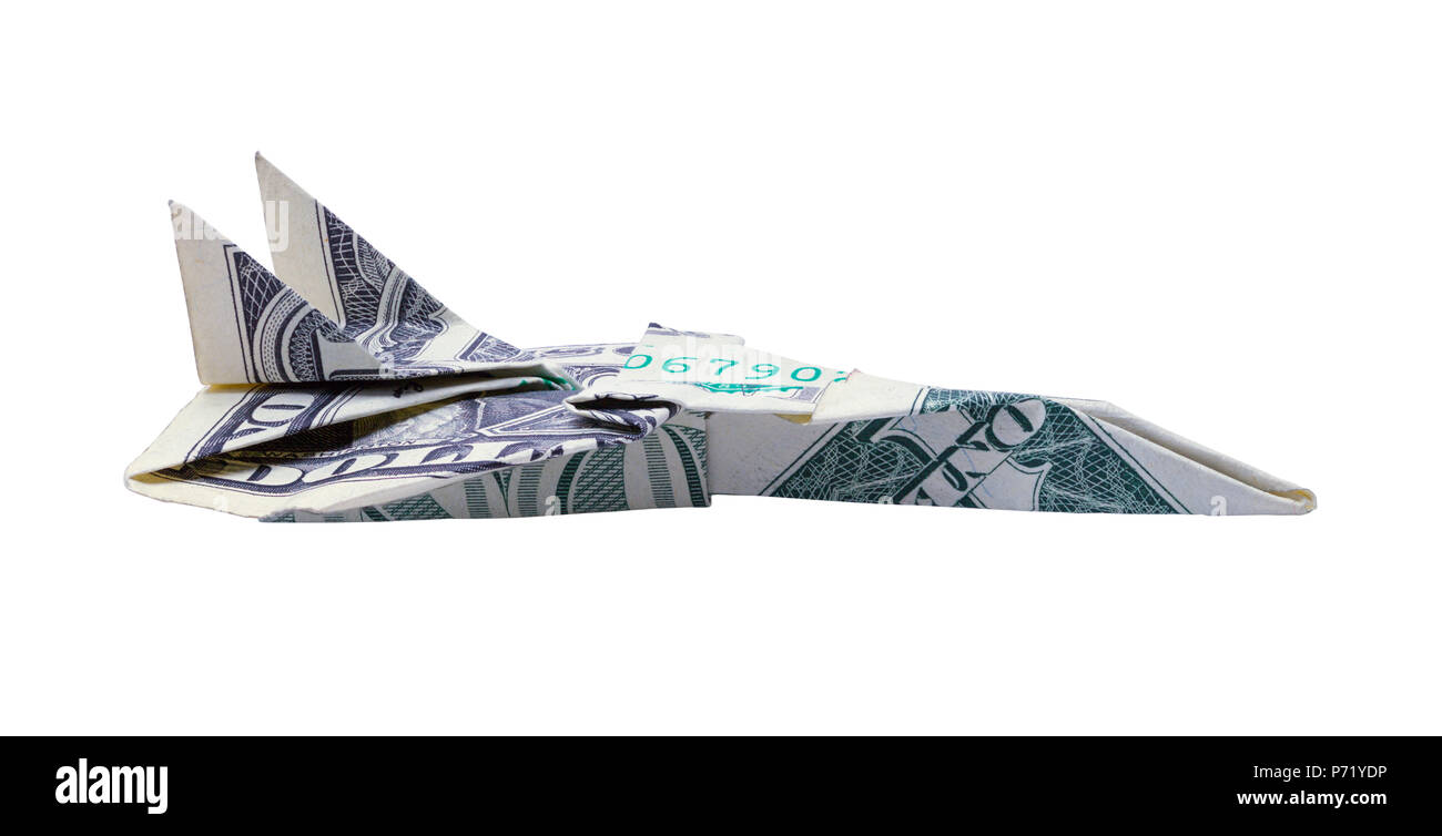 Side View of a One Doller Bill Paper Airplane Isolated on a White Background. - Stock Image