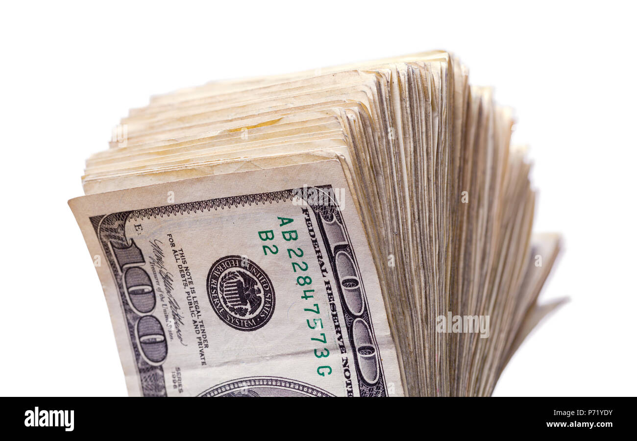 Large Stack of Money Fanned Out Isolated on a White Background. - Stock Image