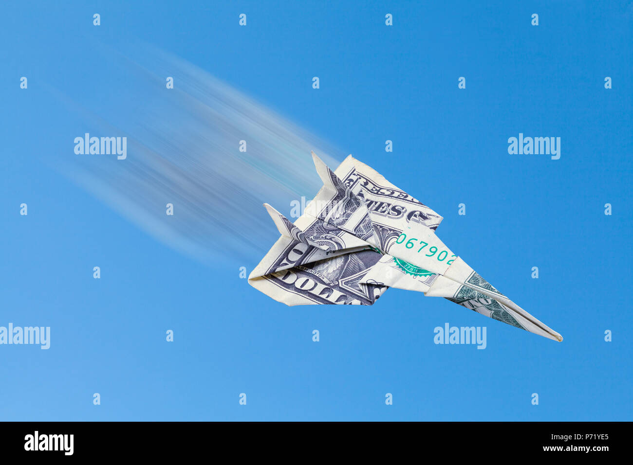 Dollar Plane Flying Fast in the Sky. - Stock Image