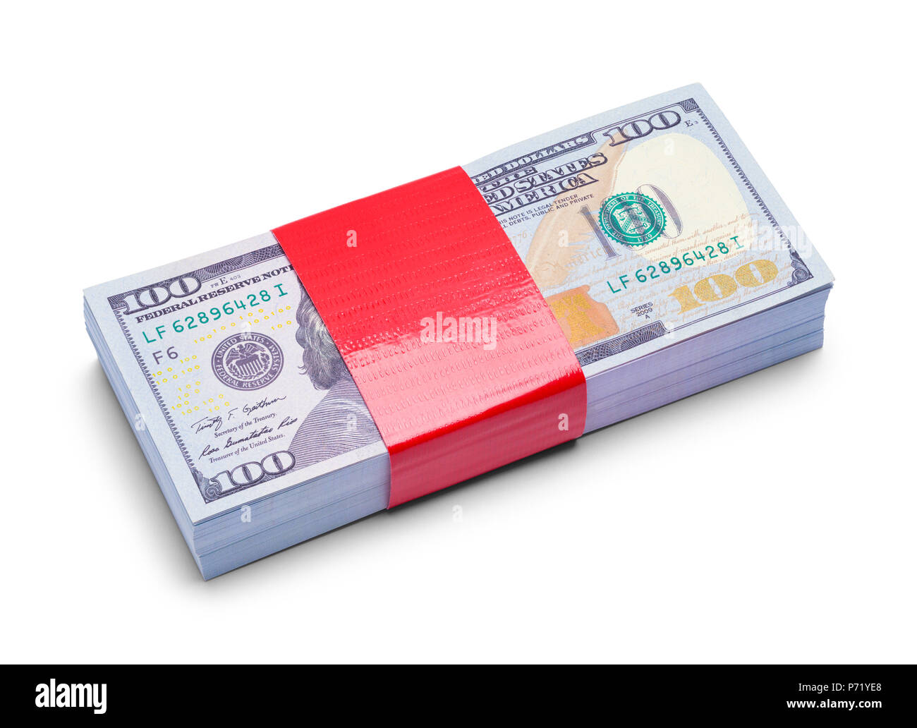 Stack of One Hundred Dollars with Red Tape Isolated on White Background. - Stock Image