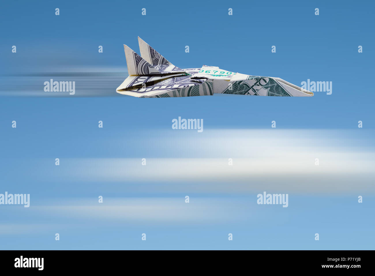 Dollar Jet Airplane Flying Fast in the Sky. - Stock Image
