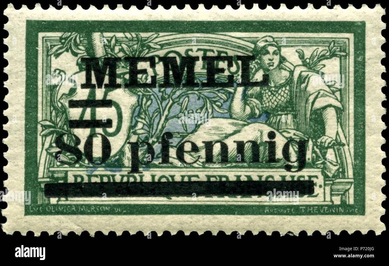 English: Memel 80pf overprint on 1920 on 45c stamp . 77 Stamp Memel 1920 80pf on 45c - Stock Image