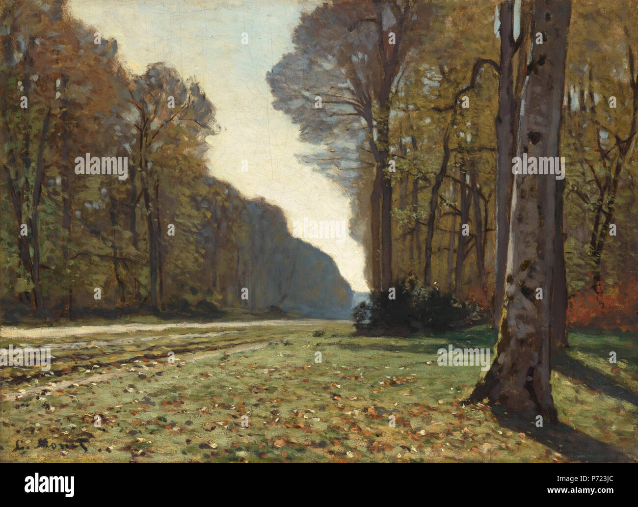 In 1863 Monet left Gleyre's studio with his friend Bazille and embarked on a pilgrimage to the favourite location of previous landscape artists of the Barbizon school – the Forest of Fontainebleau. There, he was able to rediscover the whole range of familiar themes that had been celebrated for several decades, including the Pavé de Chailly, a vast avenue of almost architectural proportions which acted as a gateway to the forest. He thus had the opportunity to work harder than ever at painting en plein air. According to his friend, Monet was at that point 'pretty good at landscapes', thanks to  - Stock Image