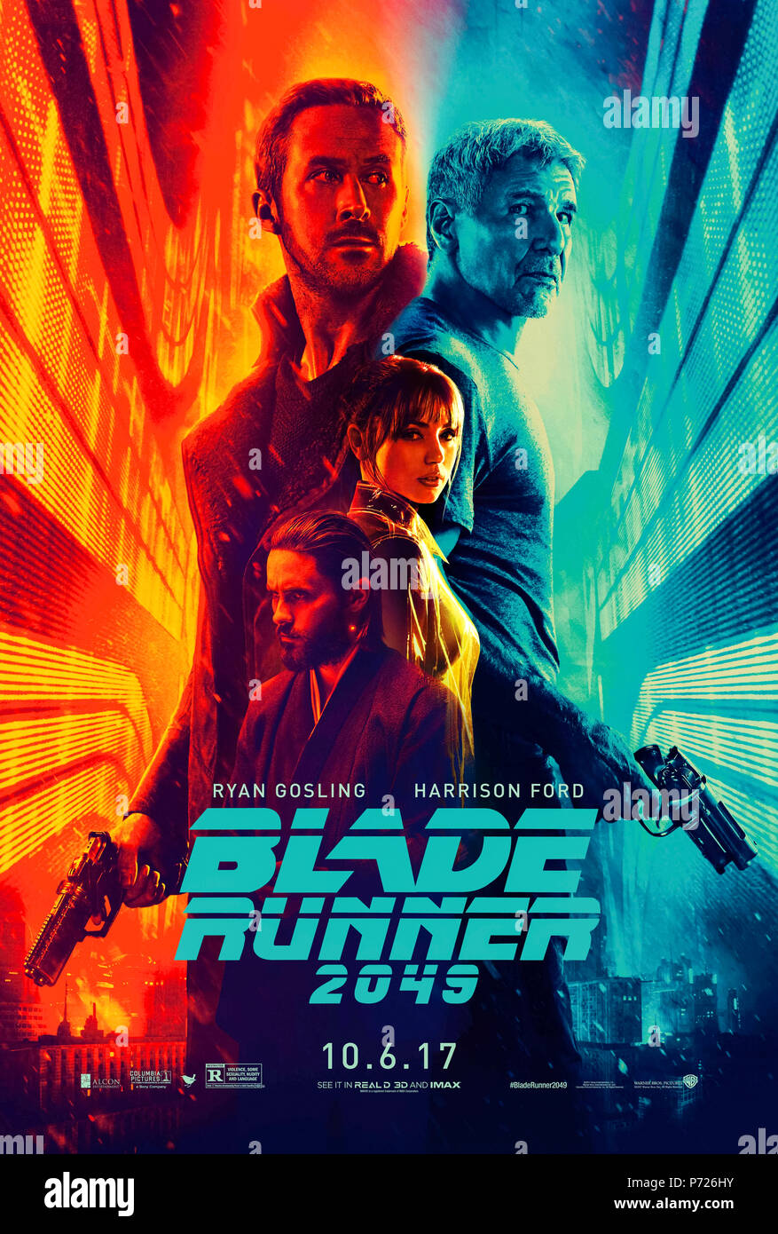 Blade Runner 2049 (2017) directed by Denis Villeneuve and starring Harrison Ford, Ryan Gosling, Ana de Armas and Jared Leto. A sequel to the 1982 classic set thirty years later where a new blade runner uncovers a secret. - Stock Image