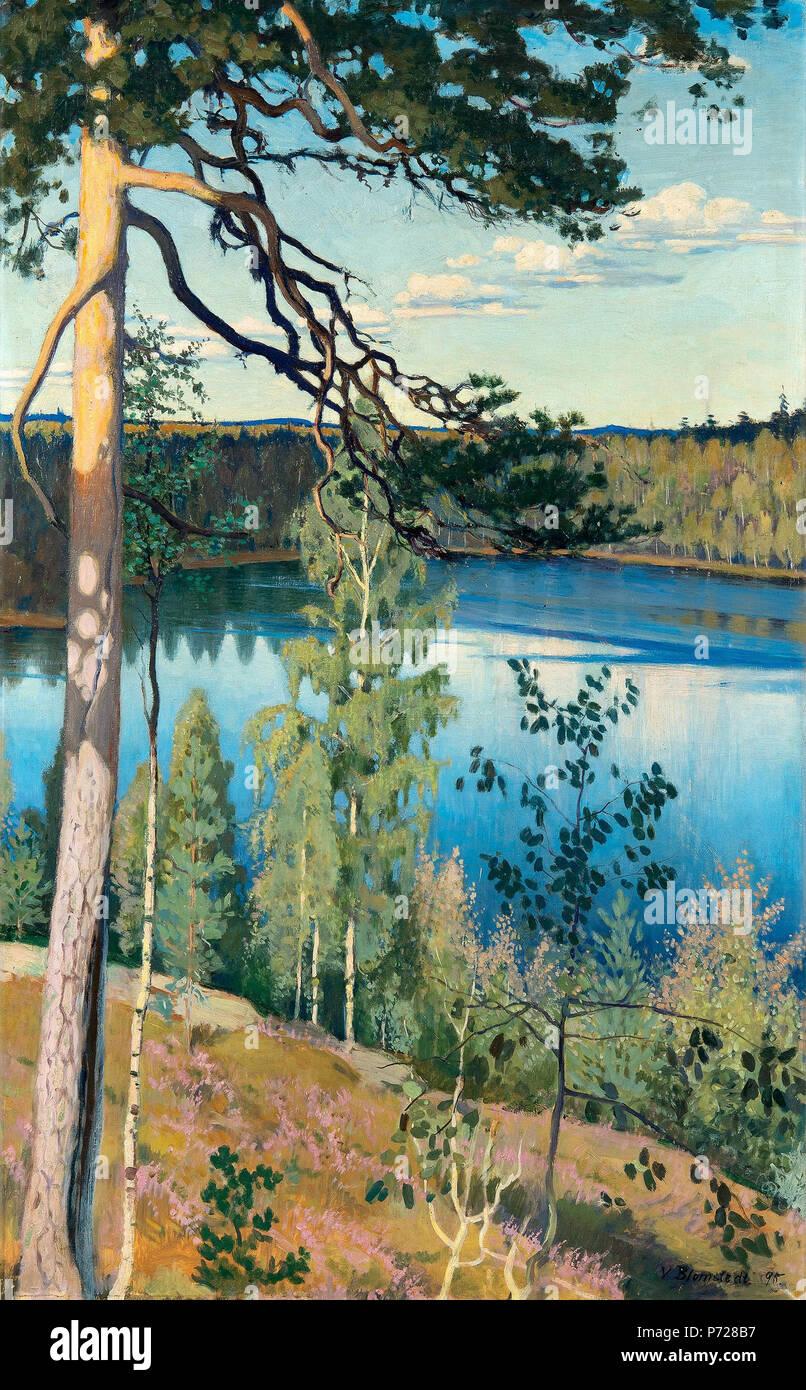 .  Suomi: Erämaan järvi English: Lake in the Wilderness Svenska: Sjö i ödemarken .  English: Väinö Blomstedt 1895. Oil on canvas 103x64 cm. . 1895 8 Blomstedt Lake in the wilderness - Stock Image