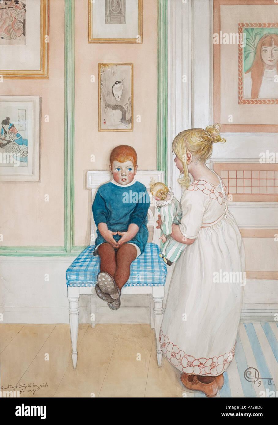 12 Carl Larsson - Gunlög Säj, ä' du rädd för mej  1918 - Stock Image