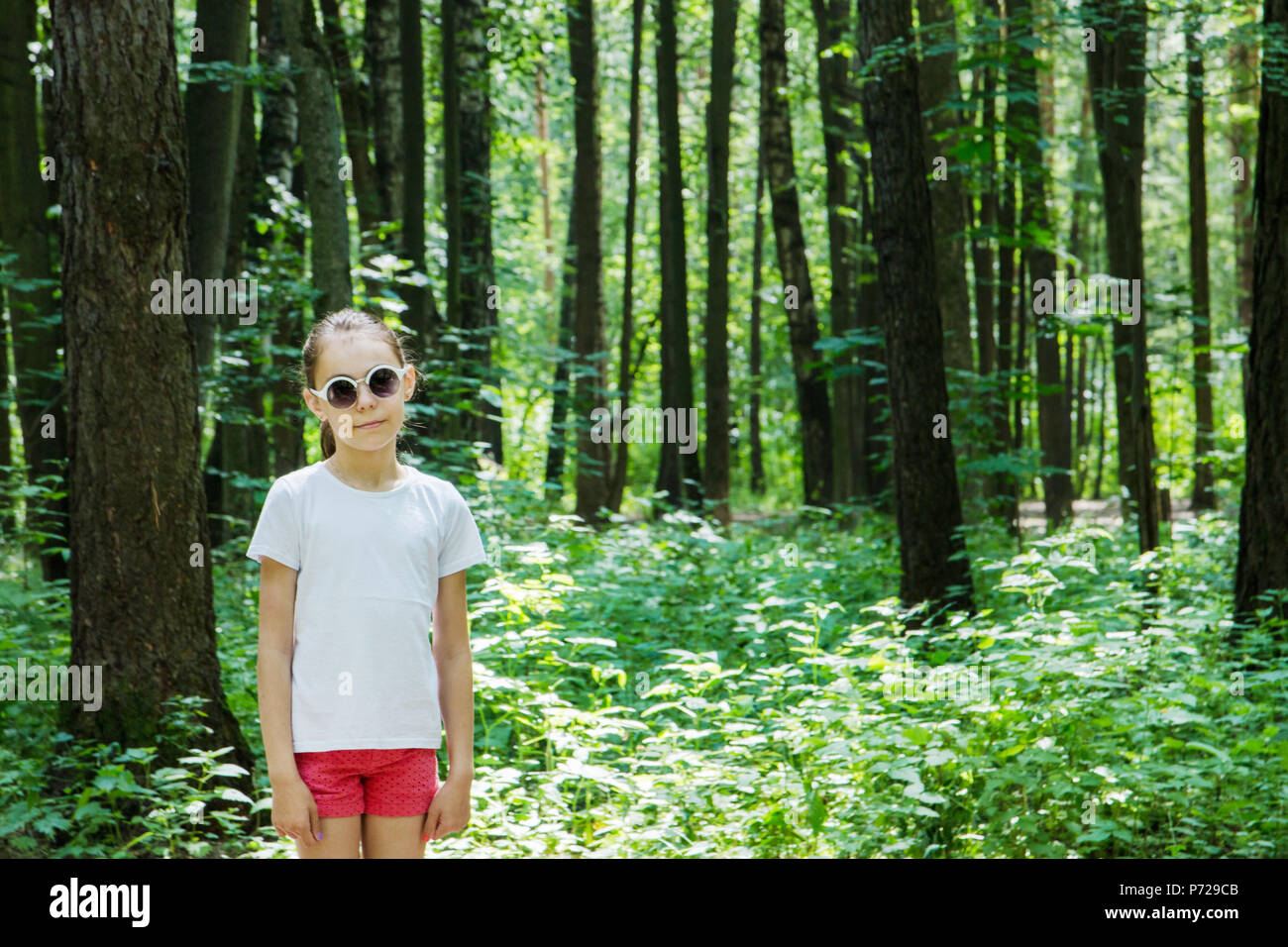 Girl in summer forest, nature background - Stock Image