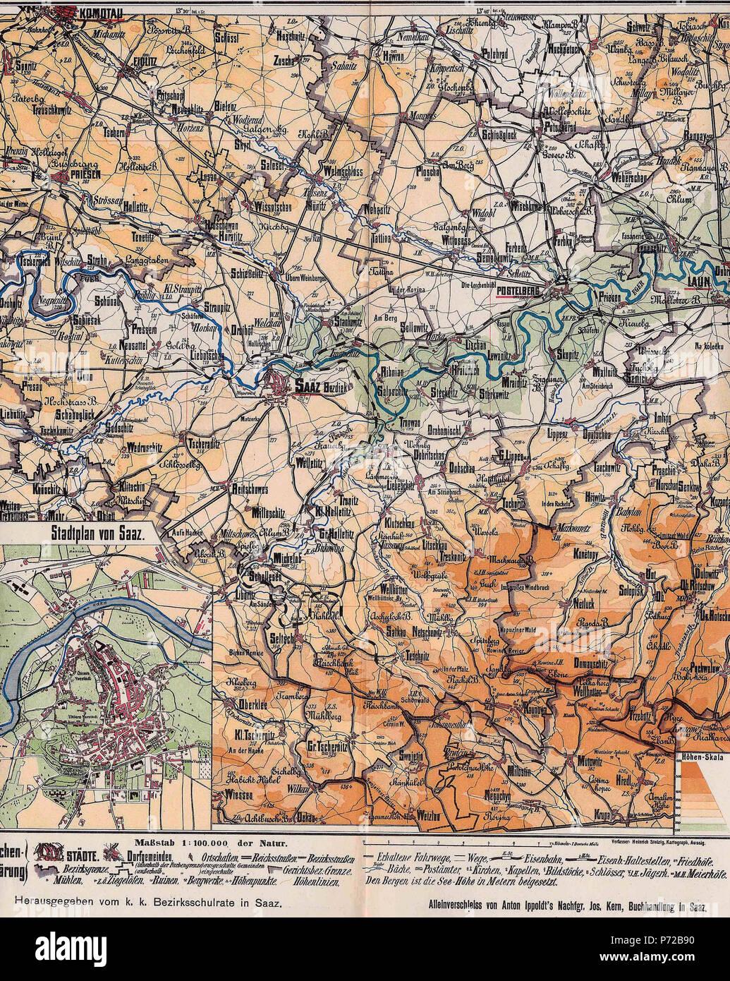 Landkarte Deutsch.Deutsch Landkarte Des Bezirks Saaz Um 1900 Aus Karl