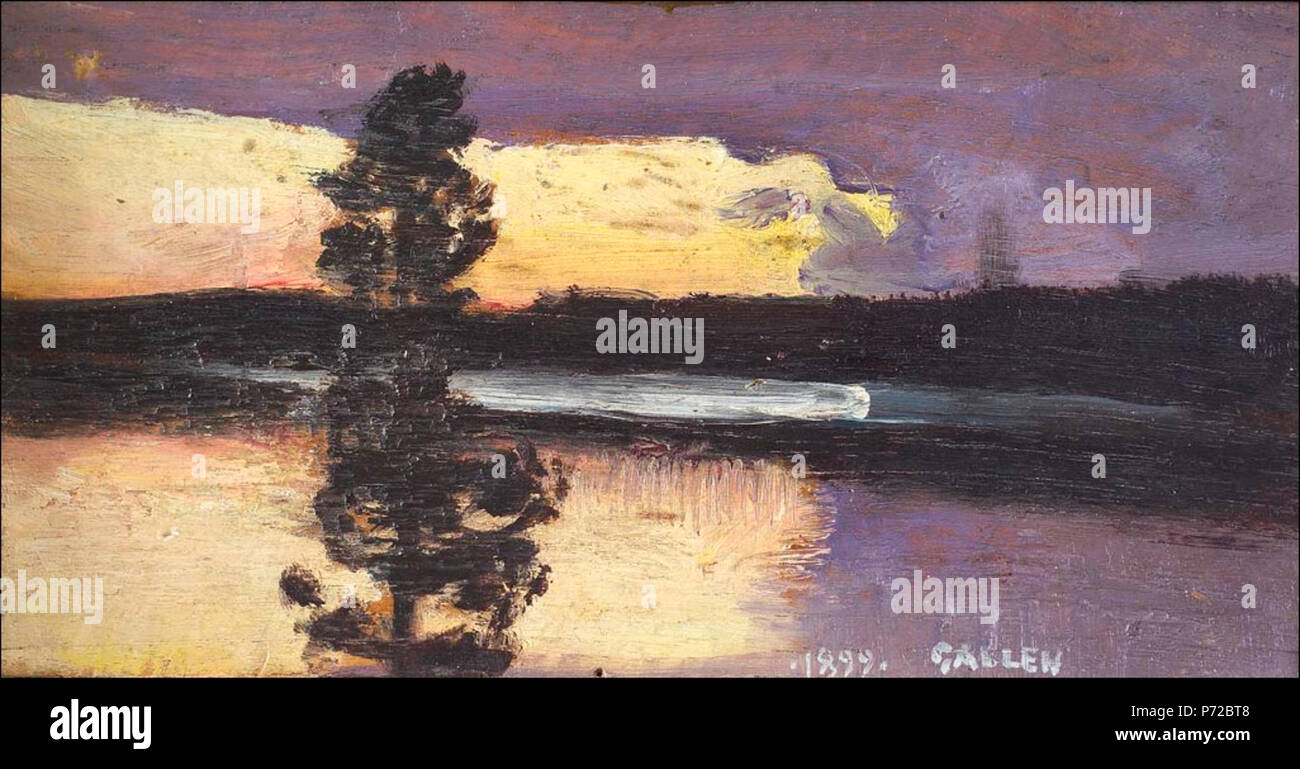 . Auringonlasku English: Sunset  1899 7 Akseli Gallen-Kallela-Auringonlasku - Stock Image