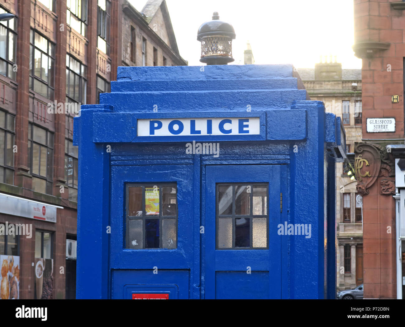 Blue police box, Dr Who TARDIS, Merchant City, Glasgow, City Centre, Scotland,UK - Stock Image