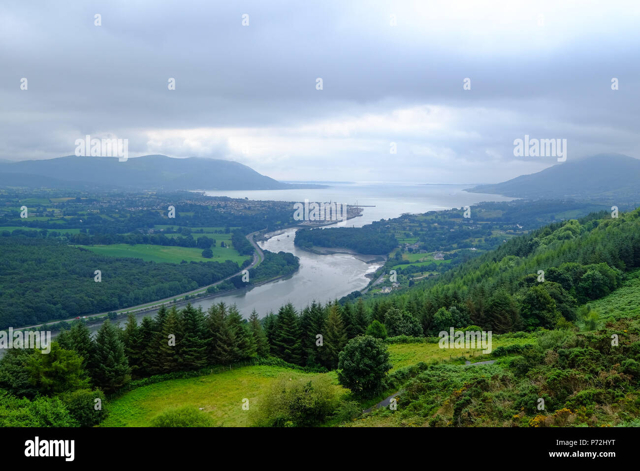 Newry Canal flowing into the Carlingford Lough at Warrenpoint, County Down, Ulster, Northern Ireland, United Kingdom, Europe - Stock Image