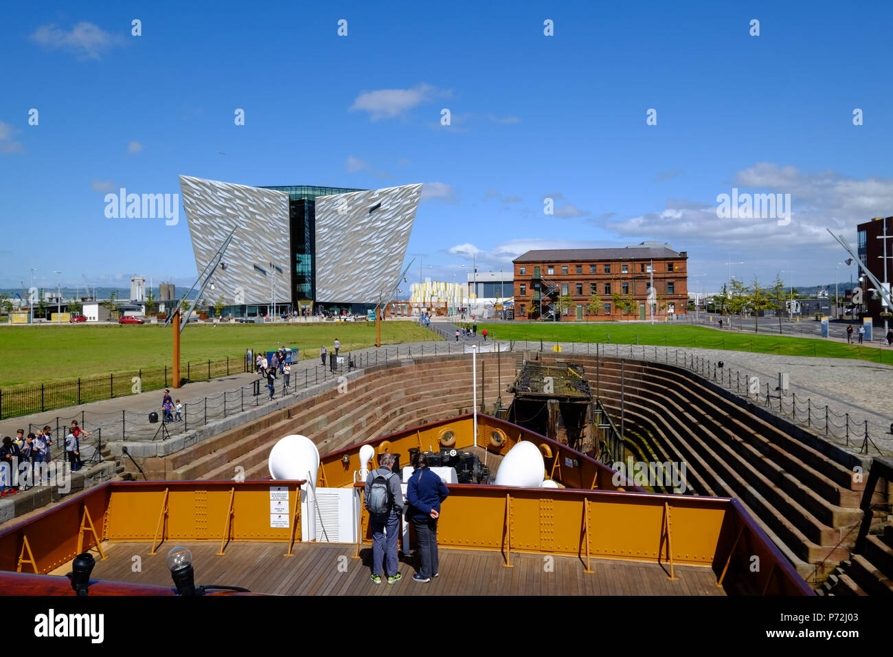 SS Nomadic, Belfast's Titanic Quarter with the Titanic Belfast Museum in the background, Belfast, Northern Ireland, United Kingdom, Europe Stock Photo