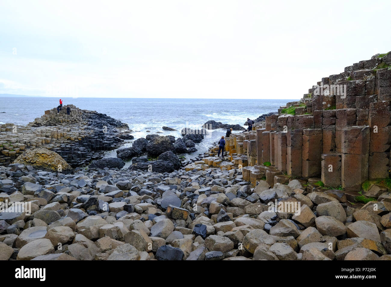 Giant's Causeway, UNESCO World Heritage Site, Bushmills, County Antrim, on the north coast of Northern Ireland, Ulster, Northern Ireland, UK - Stock Image